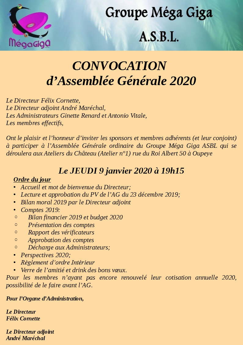 Convocation AG Mega Giga ASBL 2020