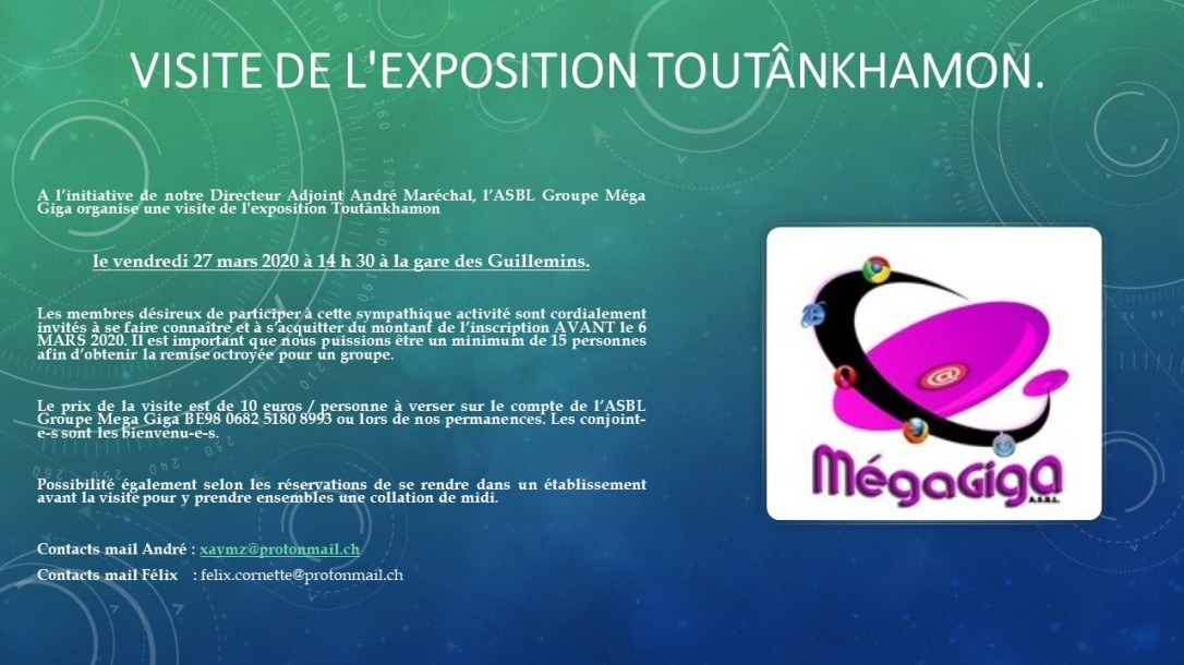 visite de l'exposition Toutânkhamon